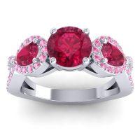 Three Stone Pave Varsa Ruby Ring with Pink Tourmaline in Platinum