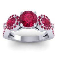 Three Stone Pave Varsa Ruby Ring in 14k White Gold