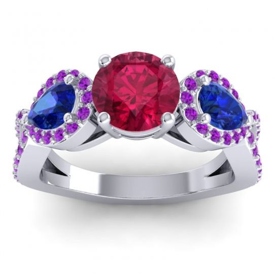 Three Stone Pave Varsa Ruby Ring with Blue Sapphire and Amethyst in Platinum