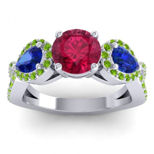 Three Stone Pave Varsa Ruby Ring with Blue Sapphire and Peridot in Platinum
