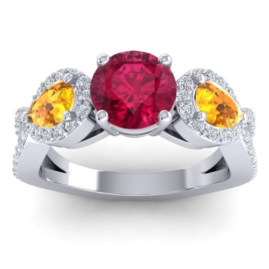 Three Stone Pave Varsa Ruby Ring with Citrine and Diamond in Palladium