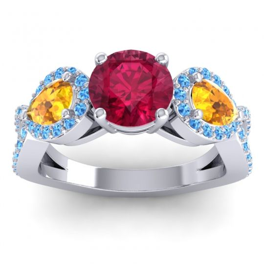 Three Stone Pave Varsa Ruby Ring with Citrine and Swiss Blue Topaz in 14k White Gold
