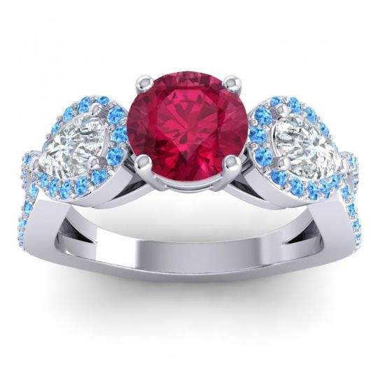 Three Stone Pave Varsa Ruby Ring with Diamond and Swiss Blue Topaz in Palladium