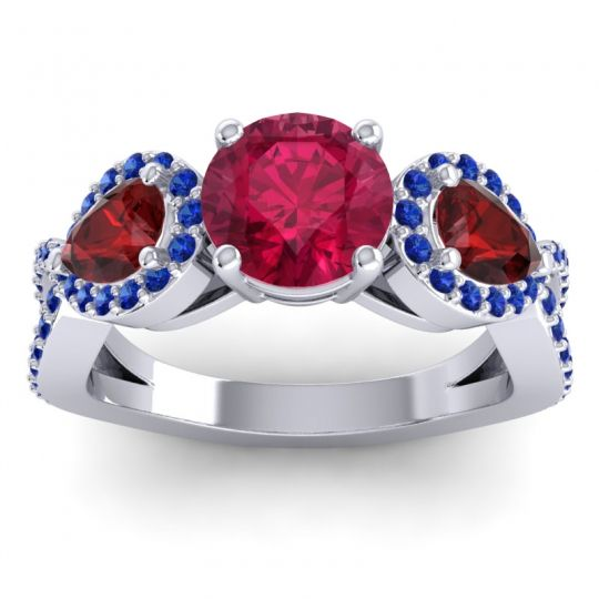 Three Stone Pave Varsa Ruby Ring with Garnet and Blue Sapphire in 18k White Gold
