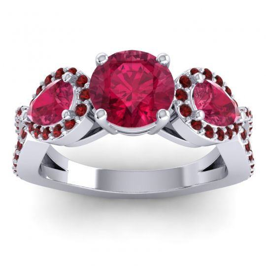 Ruby Three Stone Pave Varsa Ring with Garnet in 18k White Gold