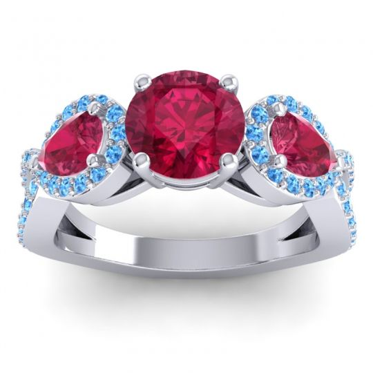 Three Stone Pave Varsa Ruby Ring with Swiss Blue Topaz in Platinum