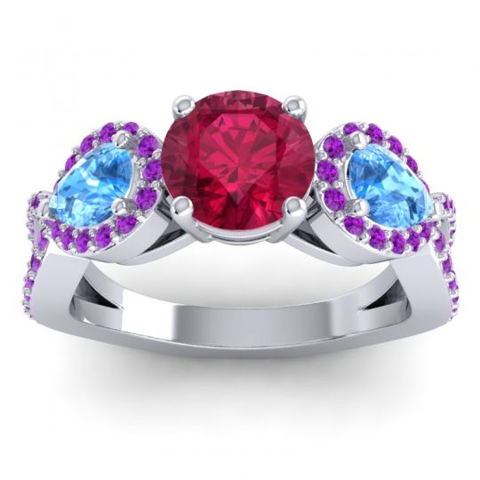Three Stone Pave Varsa Ruby Ring with Swiss Blue Topaz and Amethyst in 14k White Gold