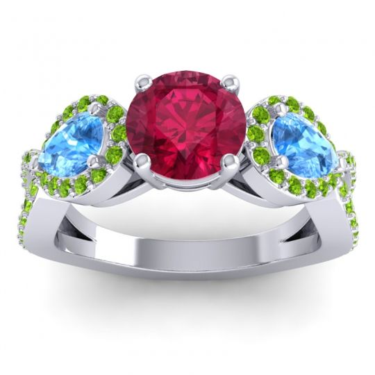 Three Stone Pave Varsa Ruby Ring with Swiss Blue Topaz and Peridot in 14k White Gold