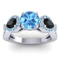 Three Stone Pave Varsa Swiss Blue Topaz Ring with Black Onyx and Aquamarine in Palladium