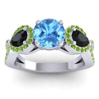 Three Stone Pave Varsa Swiss Blue Topaz Ring with Black Onyx and Peridot in 14k White Gold