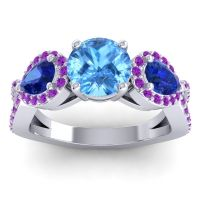 Three Stone Pave Varsa Swiss Blue Topaz Ring with Blue Sapphire and Amethyst in Platinum