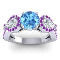 Three Stone Pave Varsa Swiss Blue Topaz Ring with Diamond and Amethyst in Palladium