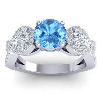 Three Stone Pave Varsa Swiss Blue Topaz Ring with Diamond in Platinum