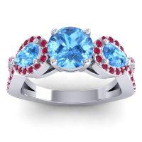 Three Stone Pave Varsa Swiss Blue Topaz Ring with Ruby in Palladium
