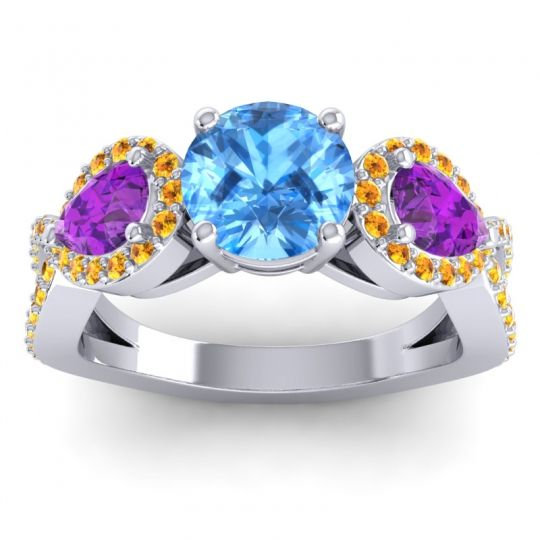 Three Stone Pave Varsa Swiss Blue Topaz Ring with Amethyst and Citrine in Platinum
