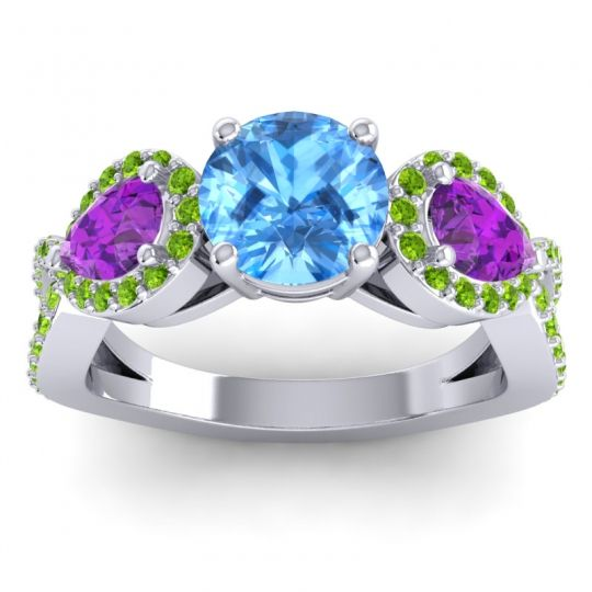 Three Stone Pave Varsa Swiss Blue Topaz Ring with Amethyst and Peridot in 14k White Gold