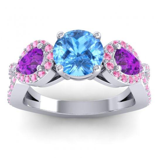 Three Stone Pave Varsa Swiss Blue Topaz Ring with Amethyst and Pink Tourmaline in Palladium