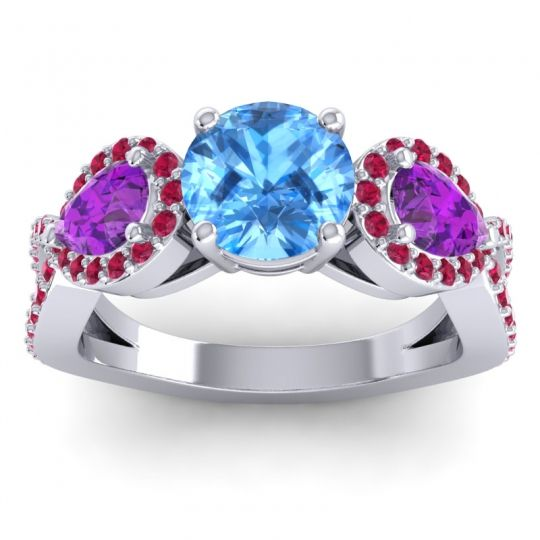 Three Stone Pave Varsa Swiss Blue Topaz Ring with Amethyst and Ruby in 18k White Gold