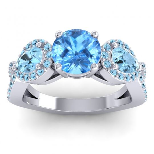 Three Stone Pave Varsa Swiss Blue Topaz Ring with Aquamarine in 14k White Gold