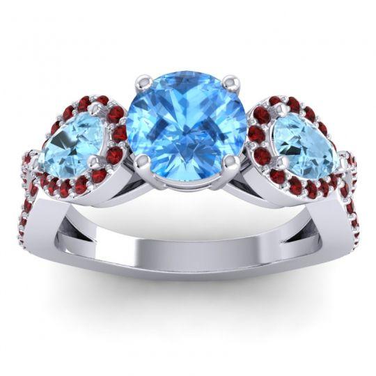 Three Stone Pave Varsa Swiss Blue Topaz Ring with Aquamarine and Garnet in Palladium