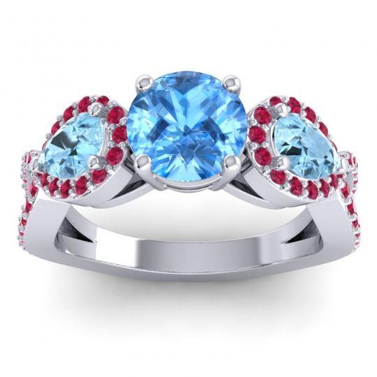Three Stone Pave Varsa Swiss Blue Topaz Ring with Aquamarine and Ruby in Palladium