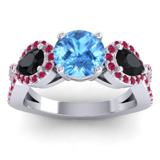 Three Stone Pave Varsa Swiss Blue Topaz Ring with Black Onyx and Ruby in Platinum