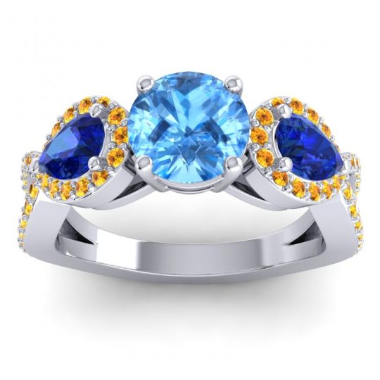 Three Stone Pave Varsa Swiss Blue Topaz Ring with Blue Sapphire and Citrine in 18k White Gold