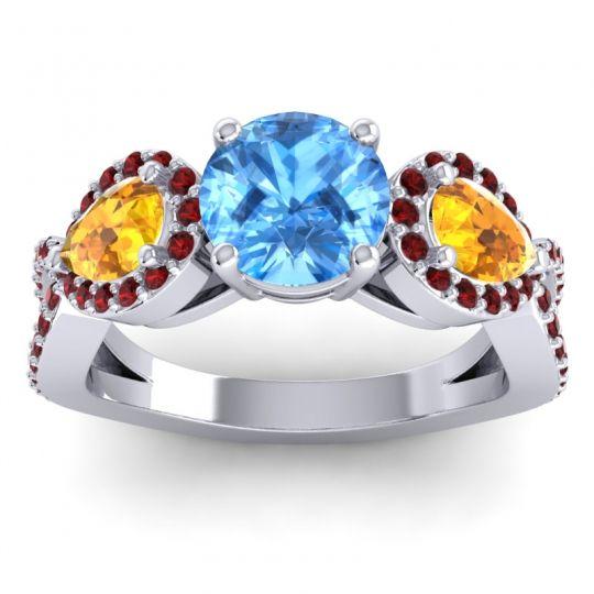 Three Stone Pave Varsa Swiss Blue Topaz Ring with Citrine and Garnet in Platinum