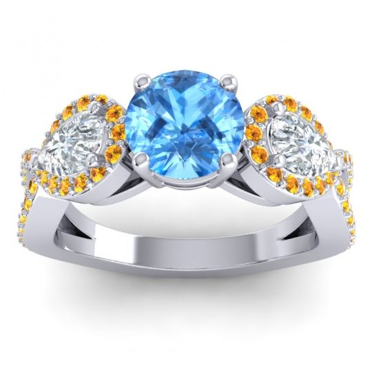 Three Stone Pave Varsa Swiss Blue Topaz Ring with Diamond and Citrine in 18k White Gold