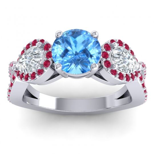 Three Stone Pave Varsa Swiss Blue Topaz Ring with Diamond and Ruby in Platinum