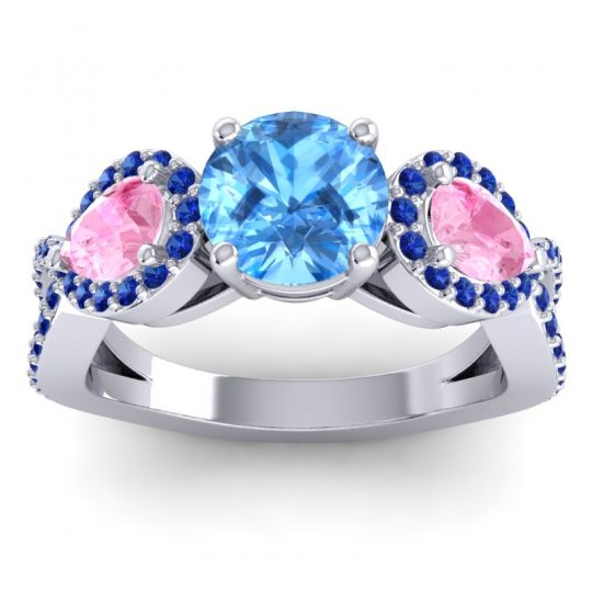 Three Stone Pave Varsa Swiss Blue Topaz Ring with Pink Tourmaline and Blue Sapphire in Palladium