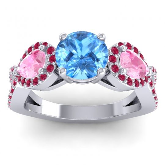 Three Stone Pave Varsa Swiss Blue Topaz Ring with Pink Tourmaline and Ruby in Platinum