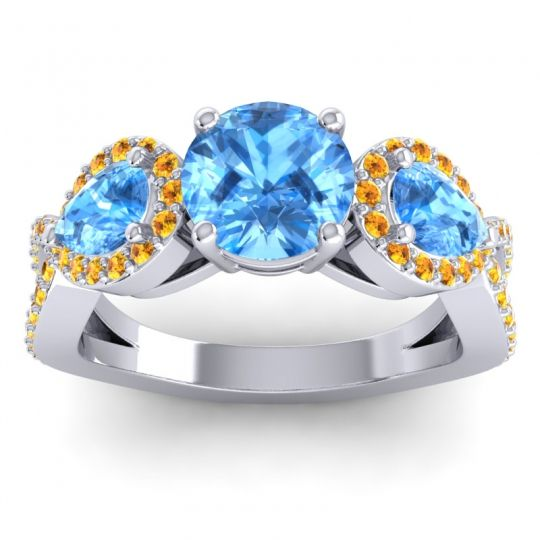 Three Stone Pave Varsa Swiss Blue Topaz Ring with Citrine in Platinum