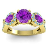 Three Stone Pave Varsa Amethyst Ring with Aquamarine in 14k Yellow Gold