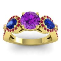 Three Stone Pave Varsa Amethyst Ring with Blue Sapphire and Ruby in 14k Yellow Gold