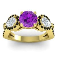 Three Stone Pave Varsa Amethyst Ring with Diamond and Black Onyx in 18k Yellow Gold