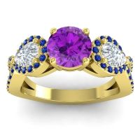 Three Stone Pave Varsa Amethyst Ring with Diamond and Blue Sapphire in 14k Yellow Gold