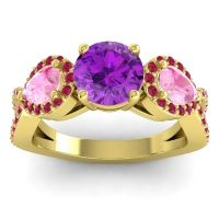 Three Stone Pave Varsa Amethyst Ring with Pink Tourmaline and Ruby in 14k Yellow Gold
