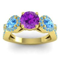 Three Stone Pave Varsa Amethyst Ring with Swiss Blue Topaz in 14k Yellow Gold
