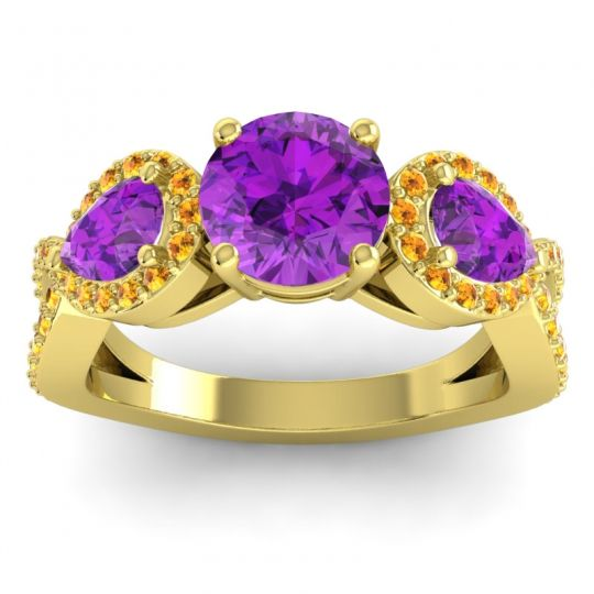 Three Stone Pave Varsa Amethyst Ring with Citrine in 18k Yellow Gold
