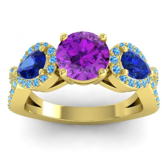 Three Stone Pave Varsa Amethyst Ring with Blue Sapphire and Swiss Blue Topaz in 14k Yellow Gold