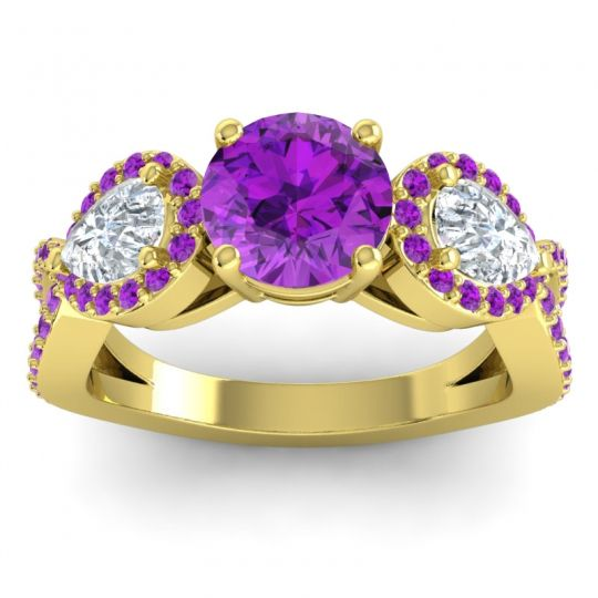 Three Stone Pave Varsa Amethyst Ring with Diamond in 14k Yellow Gold