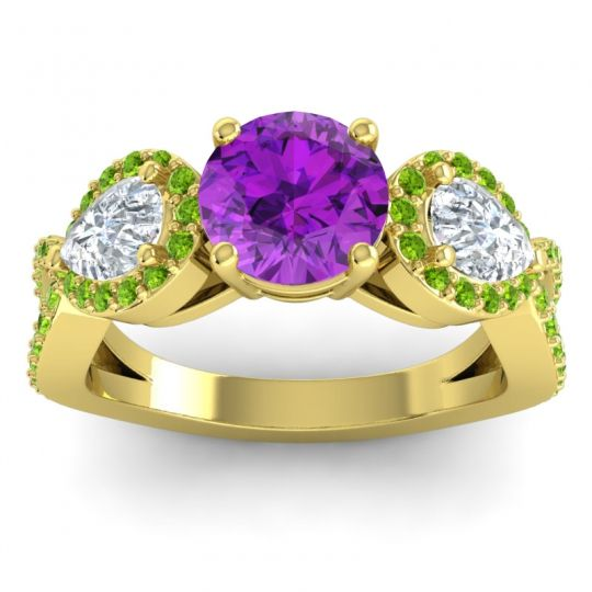 Three Stone Pave Varsa Amethyst Ring with Diamond and Peridot in 14k Yellow Gold