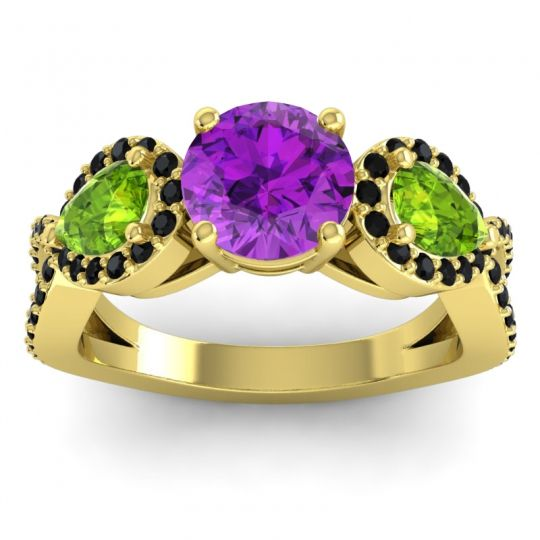 Three Stone Pave Varsa Amethyst Ring with Peridot and Black Onyx in 14k Yellow Gold