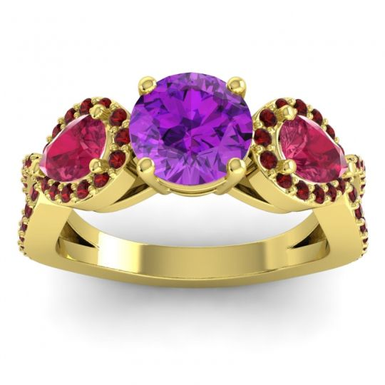 Three Stone Pave Varsa Amethyst Ring with Ruby and Garnet in 18k Yellow Gold