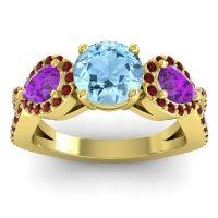Three Stone Pave Varsa Aquamarine Ring with Amethyst and Garnet in 14k Yellow Gold