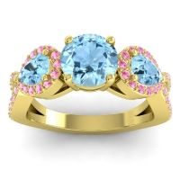 Three Stone Pave Varsa Aquamarine Ring with Pink Tourmaline in 14k Yellow Gold