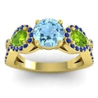 Three Stone Pave Varsa Aquamarine Ring with Peridot and Blue Sapphire in 14k Yellow Gold
