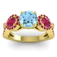 Three Stone Pave Varsa Aquamarine Ring with Ruby in 14k Yellow Gold