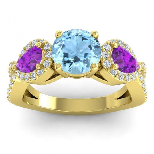 Three Stone Pave Varsa Aquamarine Ring with Amethyst and Diamond in 14k Yellow Gold